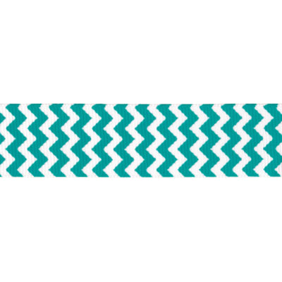 "Riley Blake 7/8"" Grosgrain Ribbon Chevron Teal"