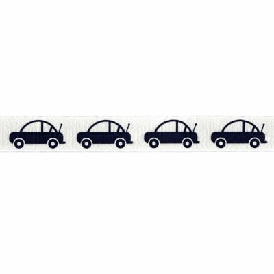"Riley Blake 1/2"" Cotton Tape Ribbon Cars Navy"