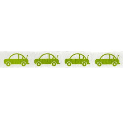 "Riley Blake 1/2"" Cotton Tape Ribbon Cars Lime"