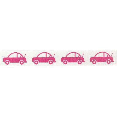 "Riley Blake 1/2"" Cotton Tape Ribbon Cars Hot Pink"