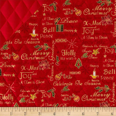 Celebrate the Season Double Sided Quilted Words Red