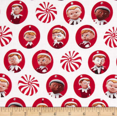 QT Fabrics Elf on the Shelf Character Heads White Red