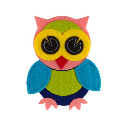 Owl Felt Applique Pink