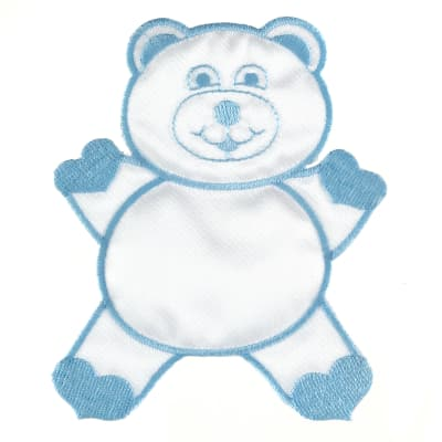 Bear With Heart Applique Blue