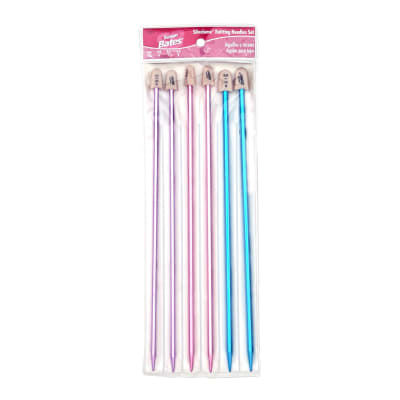 "Bates 10"" Single Point Knitting Needles Silvalume Pack-6,7,8"