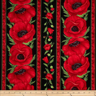 Timeless Treasures Poppies Poppy Border Stripe Red