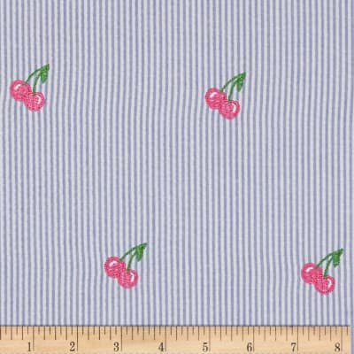 Embroidered Seersucker Light Blue/White Cherries Pink