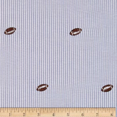 Embroidered Seersucker Light Blue/White Football Brown
