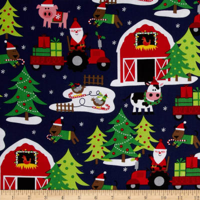 Michael Miller Holiday Santa's Farm Navy