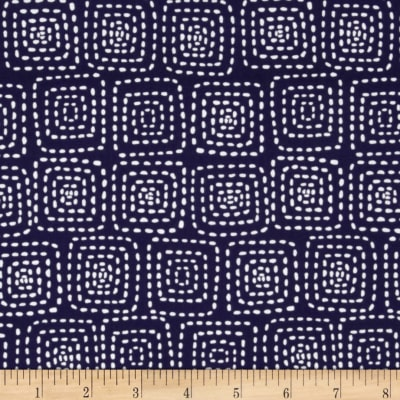Michael Miller Stitch Floral Square Navy