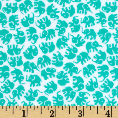 Michael Miller Little Elephants Flannel Turquoise