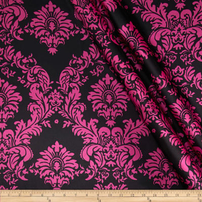 Charmeuse Satin Damask Black/Fuchsia