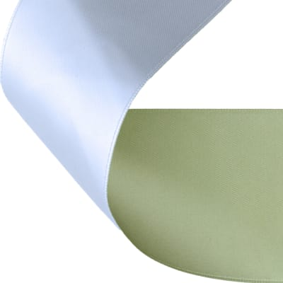 "2"" Satin Reversible Ribbon Celery/White"