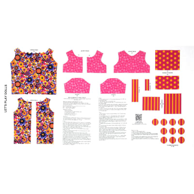"""Lets Play Dolls Bold & Bright Floral Dress 24"""" Panel Pink"""