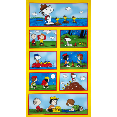 "Camp Peanuts Allover Patches 24"" Panel Yellow"