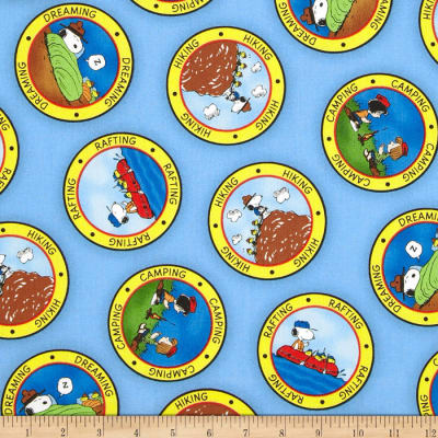 QT Fabrics Camp Peanuts Camping Badges Blue