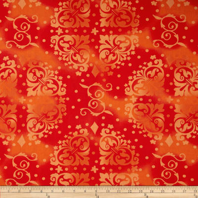 "108"" Wide Quilt Backing Medallion Tonal Orange"
