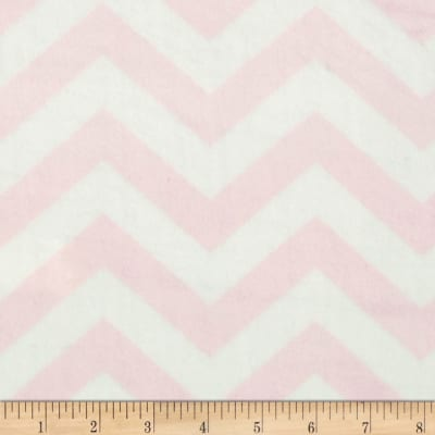 "Minky 3/4"" Chevron Light Pink/Off White"