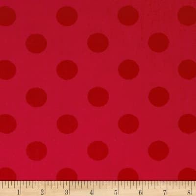 "Riley Blake 108"" Wide Medium Dots Tone on Tone Red"