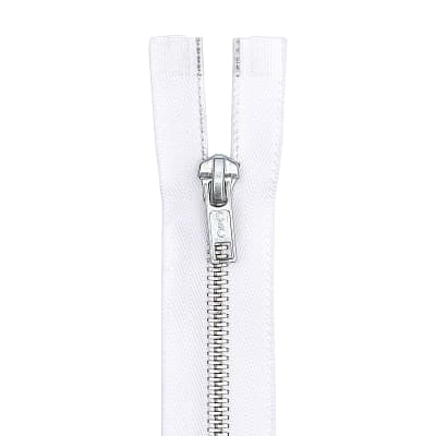 "Coats & Clark Heavy Weight Aluminum Separating Zipper 20"" White"