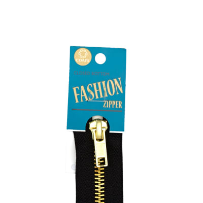 "Coats & Clark Fashion Brass Closed Bottom Zipper 5"" Black"