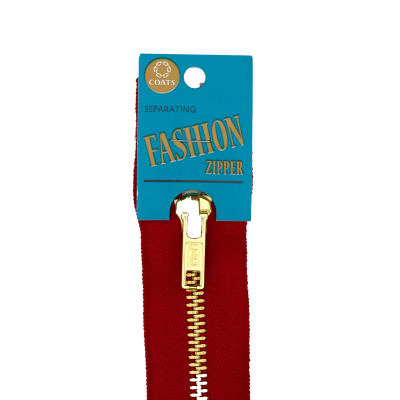 "Coats & Clark Fashion Brass Closed Bottom Zipper 7"" Red"