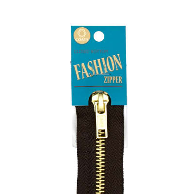"Coats & Clark Fashion Brass Separating Zipper 22"" Cloister Brown"