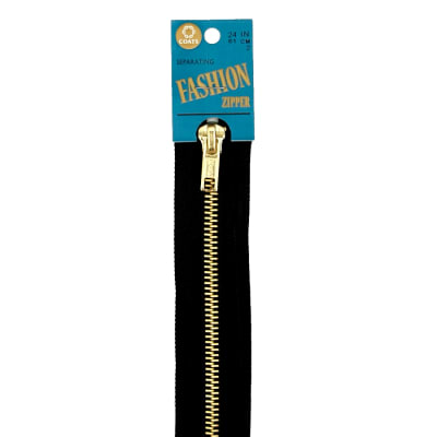 "Coats & Clark Fashion Brass Separating Zipper 24"" Black"