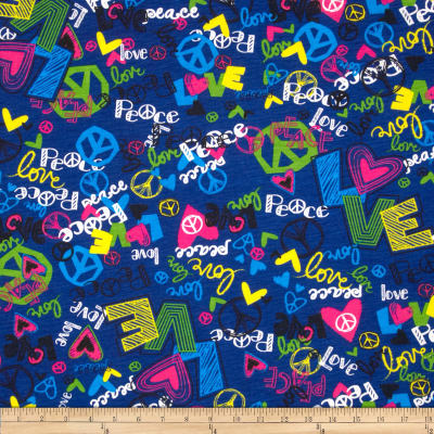 Printed Cotton Blend Jersey Peace and Love Hearts Blue