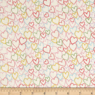 Celebration Love Hearts Metallic Cream/Multi