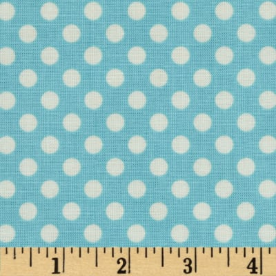 Riley Blake Le Creme Basics Small Dots Aqua/Cream