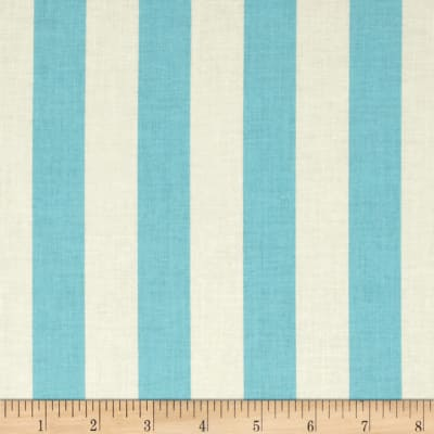 "Riley Blake Le Creme Basics Medium 1"" Stripe Aqua/Cream"