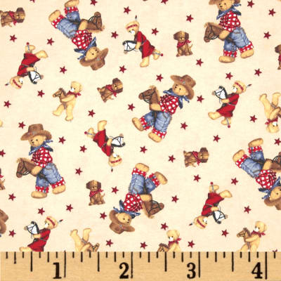 Flannel Tossed Cowboy Bears Ivory/Multi