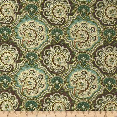 Luxor Metallic Damask Green/Brown