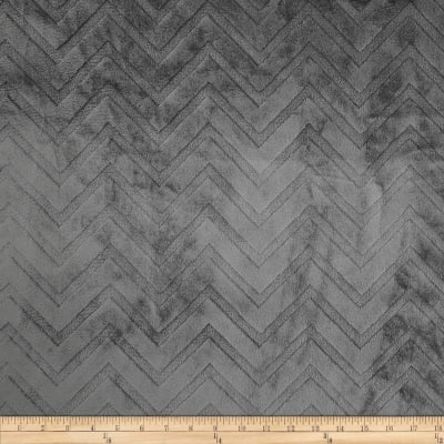 Shannon Minky Embossed Chevron Cuddle Charcoal