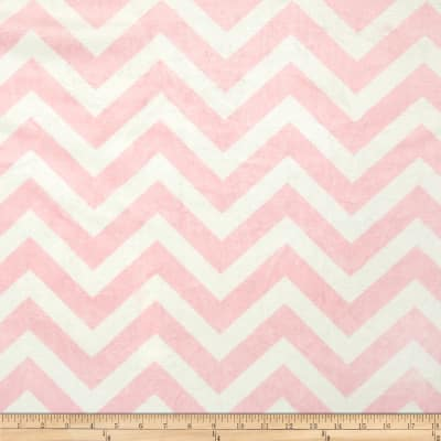 Shannon Minky Cuddle Chevron Blush/White