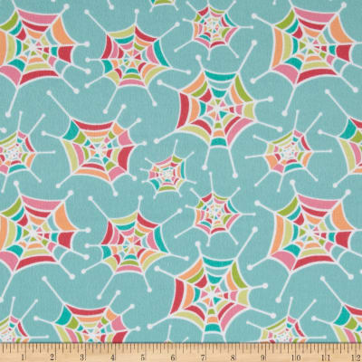 Riley Blake Flannel Snug as a Bug Spider Webs Aqua