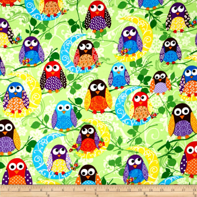 What a Hoot Flannel Large Owls Green