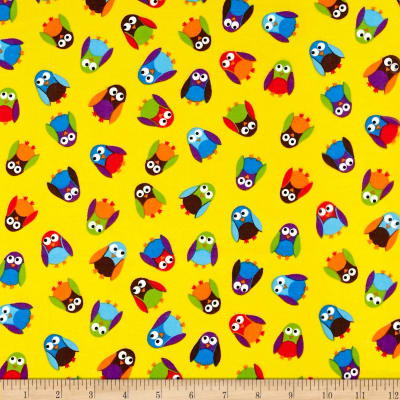 What a Hoot Flannel Small Owls Yellow