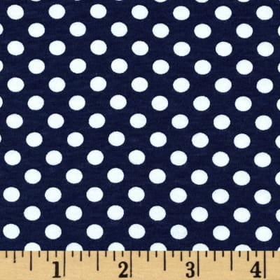 Riley Blake Knit Small Dot Navy
