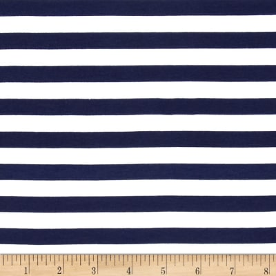 "Riley Blake Cotton Jersey Knit 1/2"" Stripes Navy"