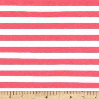 "Riley Blake Cotton Jersey Knit 1/2"" Stripes Hot Pink"