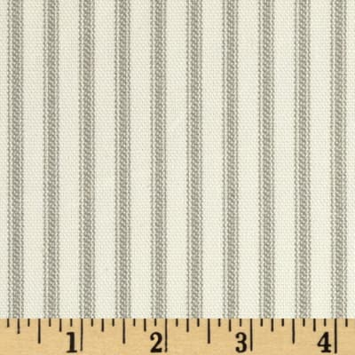 Vertical Ticking Stripe Ivory/Grey