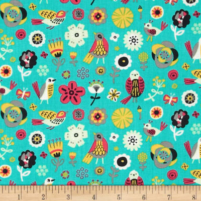 Birds of A Feather Birds & Flowers Turquoise