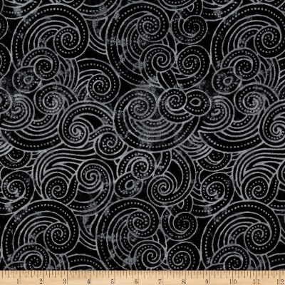 "Essential Dotty Waves 108"" Wide Quilt Back Black"