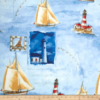 Harbor Point Large Sail Boats Blue