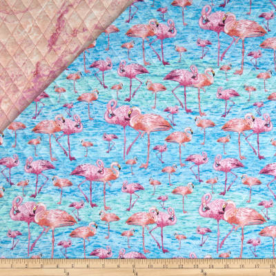 Birds of A Feather Double Sided Quilted Flamingos Pink