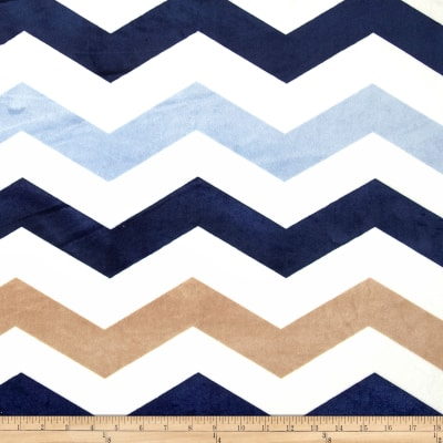 Minky 1 3/4'' Chevron Navy/Light Blue
