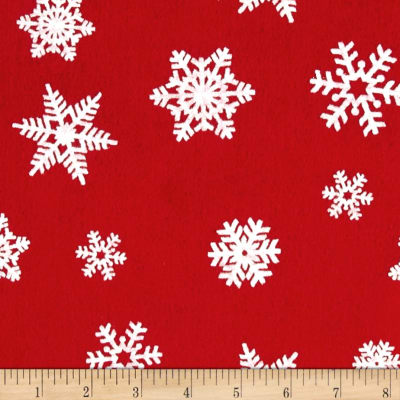 "Holiday Felt 9x 12"" Craft Cut White Snowflake Red"