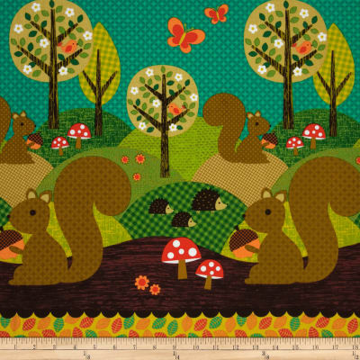 Michael Miller Norwegian Woods Too Nuts For Dinner Double Border Multi